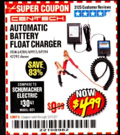 Harbor Freight Coupon AUTOMATIC BATTERY FLOAT CHARGER Lot No. 64284/42292/69594/69955 Expired: 3/31/20 - $4.99