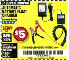 Harbor Freight Coupon AUTOMATIC BATTERY FLOAT CHARGER Lot No. 64284/42292/69594/69955 Expired: 6/30/20 - $5