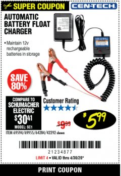 Harbor Freight Coupon AUTOMATIC BATTERY FLOAT CHARGER Lot No. 64284/42292/69594/69955 Expired: 3/30/20 - $5.99