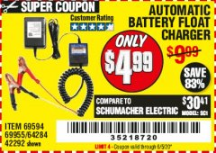Harbor Freight Coupon AUTOMATIC BATTERY FLOAT CHARGER Lot No. 64284/42292/69594/69955 Expired: 6/30/20 - $4.99