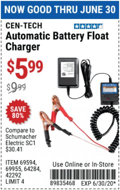 Harbor Freight Coupon AUTOMATIC BATTERY FLOAT CHARGER Lot No. 64284/42292/69594/69955 Expired: 6/30/20 - $5.99