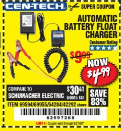 Harbor Freight Coupon AUTOMATIC BATTERY FLOAT CHARGER Lot No. 64284/42292/69594/69955 Expired: 6/21/20 - $4.99