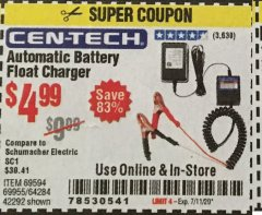 Harbor Freight Coupon AUTOMATIC BATTERY FLOAT CHARGER Lot No. 64284/42292/69594/69955 Expired: 7/11/20 - $4.99