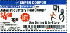 Harbor Freight Coupon AUTOMATIC BATTERY FLOAT CHARGER Lot No. 64284/42292/69594/69955 Expired: 8/21/20 - $4.99