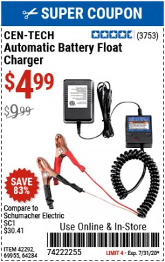 Harbor Freight Coupon AUTOMATIC BATTERY FLOAT CHARGER Lot No. 64284/42292/69594/69955 Expired: 7/31/20 - $4.99