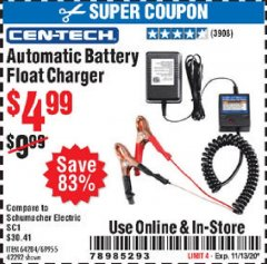 Harbor Freight Coupon AUTOMATIC BATTERY FLOAT CHARGER Lot No. 64284/42292/69594/69955 Valid Thru: 11/13/20 - $4.99