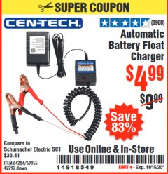 Harbor Freight Coupon AUTOMATIC BATTERY FLOAT CHARGER Lot No. 64284/42292/69594/69955 Valid: 10/6/20 - 11/15/20 - $4.99