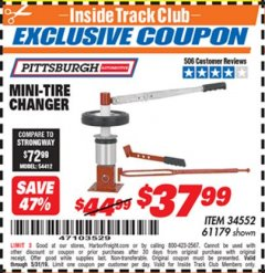 Harbor Freight ITC Coupon TIRE CHANGER Lot No. 34552/61179 Expired: 5/31/19 - $37.99