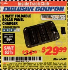 Harbor Freight ITC Coupon 5 WATT FOLDABLE SOLAR PANEL CHARGER Lot No. 60449 Expired: 7/31/19 - $29.99
