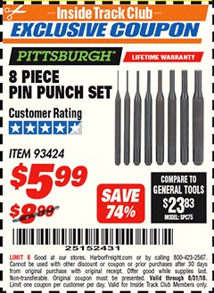 Harbor Freight ITC Coupon 8 PIECE PIN PUNCH SET Lot No. 32959/56348/93424 Expired: 8/31/18 - $5.99
