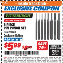 Harbor Freight ITC Coupon 8 PIECE PIN PUNCH SET Lot No. 32959/56348/93424 Expired: 10/31/18 - $5.99