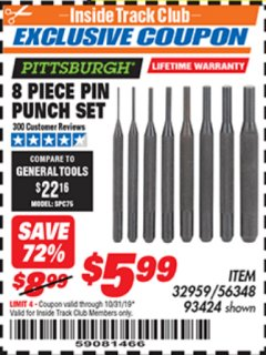 Harbor Freight ITC Coupon 8 PIECE PIN PUNCH SET Lot No. 32959/56348/93424 Expired: 10/31/19 - $5.99
