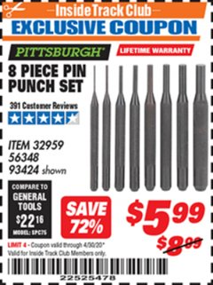 Harbor Freight ITC Coupon 8 PIECE PIN PUNCH SET Lot No. 32959/56348/93424 Expired: 4/30/20 - $5.99