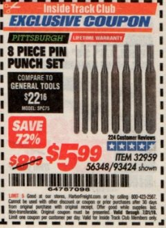 Harbor Freight ITC Coupon 8 PIECE PIN PUNCH SET Lot No. 32959/56348/93424 Expired: 7/31/19 - $5.99