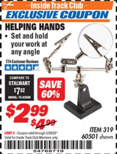 Harbor Freight ITC Coupon HELPING HANDS Lot No. 319/60501 Expired: 2/29/20 - $2.99