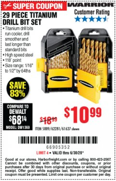 Harbor Freight Coupon 29 PIECE TITANIUM NITRIDE COATED HIGH SPEED STEEL DRILL BIT SET Lot No. 5889/61637/62281 EXPIRES: 6/30/20 - $10.99