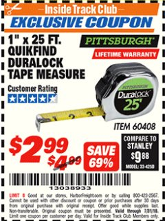 "Harbor Freight ITC Coupon 1"" x 25 FT. QUICKFIND TAPE MEASURE Lot No. 60408 Expired: 7/31/18 - $2.99"