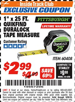 "Harbor Freight ITC Coupon 1"" x 25 FT. QUICKFIND TAPE MEASURE Lot No. 60408 Expired: 9/30/18 - $2.99"