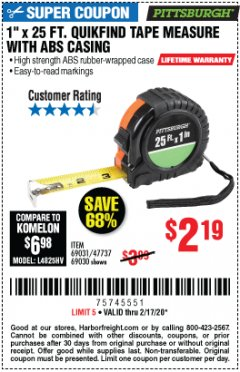 "Harbor Freight Coupon 1"" x 25 FT. QUICKFIND TAPE MEASURE Lot No. 60408 Valid Thru: 2/17/20 - $2.19"