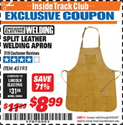Harbor Freight ITC Coupon SPLIT LEATHER WELDING APRON Lot No. 45193 Dates Valid: 12/31/69 - 6/30/20 - $8.99