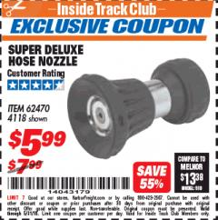 Harbor Freight ITC Coupon SUPER DELUXE HOSE NOZZLE Lot No. 4118/62470 Expired: 5/31/18 - $5.99