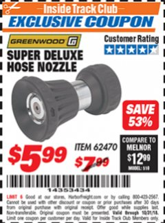 Harbor Freight ITC Coupon SUPER DELUXE HOSE NOZZLE Lot No. 4118/62470 Expired: 10/31/18 - $5.99