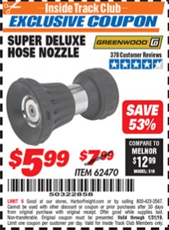 Harbor Freight ITC Coupon SUPER DELUXE HOSE NOZZLE Lot No. 4118/62470 Expired: 1/31/19 - $5.99