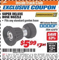 Harbor Freight ITC Coupon SUPER DELUXE HOSE NOZZLE Lot No. 4118/62470 Expired: 3/31/19 - $5.99