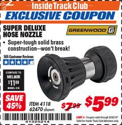 Harbor Freight ITC Coupon SUPER DELUXE HOSE NOZZLE Lot No. 4118/62470 Expired: 9/30/19 - $5.99