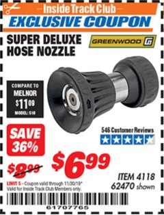Harbor Freight ITC Coupon SUPER DELUXE HOSE NOZZLE Lot No. 4118/62470 Expired: 11/30/19 - $6.99