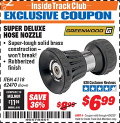 Harbor Freight ITC Coupon SUPER DELUXE HOSE NOZZLE Lot No. 4118/62470 Expired: 4/30/20 - $6.99