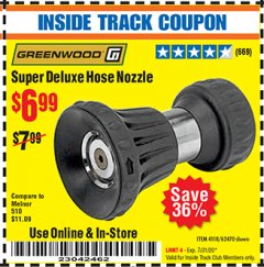 Harbor Freight ITC Coupon SUPER DELUXE HOSE NOZZLE Lot No. 4118/62470 Expired: 7/31/20 - $6.99