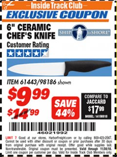 "Harbor Freight ITC Coupon 6"" CERAMIC CHEF'S KNIFE Lot No. 61443/98186 Expired: 11/30/18 - $9.99"
