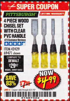 Harbor Freight Coupon 4 PIECE WOOD CHISEL SET Lot No. 42429/69471 Expired: 8/31/19 - $4.99