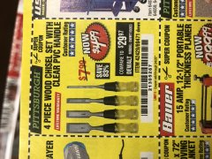 Harbor Freight Coupon 4 PIECE WOOD CHISEL SET Lot No. 42429/69471 Expired: 3/4/20 - $4.99