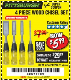 Harbor Freight Coupon 4 PIECE WOOD CHISEL SET Lot No. 42429/69471 Expired: 6/21/20 - $5.99