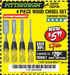 Harbor Freight Coupon 4 PIECE WOOD CHISEL SET Lot No. 42429/69471 Expired: 7/2/20 - $5.99