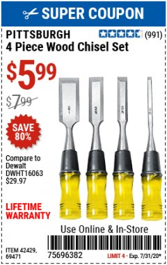 Harbor Freight Coupon 4 PIECE WOOD CHISEL SET Lot No. 42429/69471 Expired: 7/31/20 - $5.99