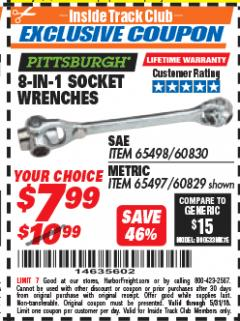 Harbor Freight ITC Coupon 8-IN-1 SOCKET WRENCHES Lot No. 60830/65498/60829/65497 Expired: 5/31/18 - $7.99