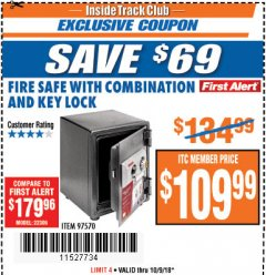 Harbor Freight ITC Coupon FIRESAFE WITH COMBINATION AND KEY LOCK Lot No. 97570 Expired: 10/9/18 - $109.99
