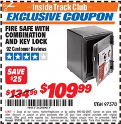 Harbor Freight ITC Coupon FIRESAFE WITH COMBINATION AND KEY LOCK Lot No. 97570 Expired: 5/31/19 - $109.99