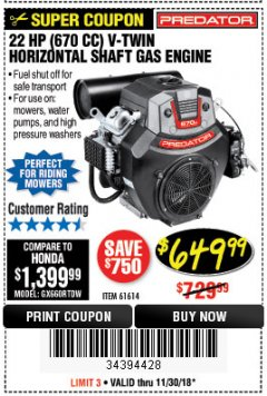Harbor Freight Coupon PREDATOR 22 HP (670 CC) V-TWIN HORIZONTAL SHAFT GAS ENGINE Lot No. 61614 Expired: 11/30/18 - $649.99