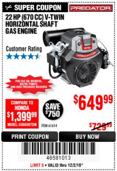 Harbor Freight Coupon PREDATOR 22 HP (670 CC) V-TWIN HORIZONTAL SHAFT GAS ENGINE Lot No. 61614 Expired: 12/2/18 - $649.99