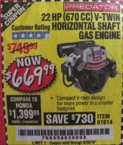 Harbor Freight Coupon PREDATOR 22 HP (670 CC) V-TWIN HORIZONTAL SHAFT GAS ENGINE Lot No. 61614 Expired: 9/28/19 - $669.99