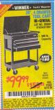 "Harbor Freight Coupon 26/30"", 4 DRAWER TOOL CART Lot No. 95659/61634/61952 Expired: 5/25/15 - $99.99"