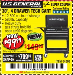 "Harbor Freight Coupon 26/30"", 4 DRAWER TOOL CART Lot No. 95659/61634/61952 Expired: 10/5/18 - $99.99"