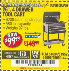 "Harbor Freight Coupon 26/30"", 4 DRAWER TOOL CART Lot No. 95659/61634/61952 Expired: 5/15/18 - $99.99"