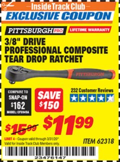 "Harbor Freight ITC Coupon 3/8"" DRIVE PROFESSIONAL COMPOSITE TEAR DROP RATCHET Lot No. 62318 Expired: 3/31/20 - $11.99"
