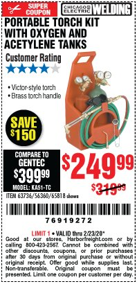 Harbor Freight Coupon PORTABLE TORCH KIT WITH OXYGEN AND ACETYLENE TANKS Lot No. 63736, 56360, 65818 Expired: 2/23/20 - $249.99