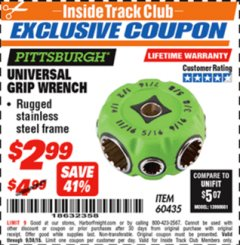 Harbor Freight ITC Coupon UNIVERSAL GRIP WRENCH Lot No. 60435 Expired: 9/30/18 - $2.99
